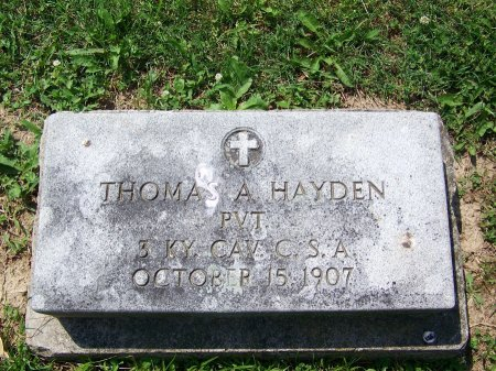 HAYDEN (VETERAN CSA), THOMAS A. - Graves County, Kentucky | THOMAS A. HAYDEN (VETERAN CSA) - Kentucky Gravestone Photos