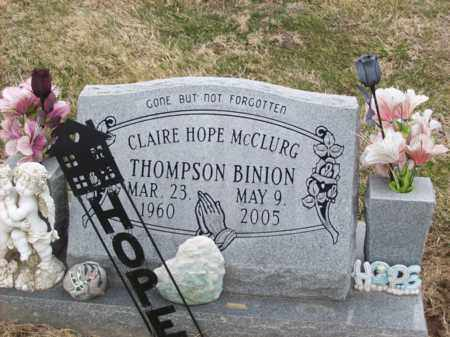 MCCLURG THOMPSON BINION, CLAIRE HOPE - Rowan County, Kentucky   CLAIRE HOPE MCCLURG THOMPSON BINION - Kentucky Gravestone Photos
