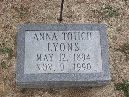 TOTICH LYONS, ANNA - Rowan County, Kentucky   ANNA TOTICH LYONS - Kentucky Gravestone Photos