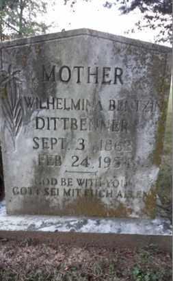 BENTZIN DITTBENNER, WILHELMINA - Simpson County, Kentucky | WILHELMINA BENTZIN DITTBENNER - Kentucky Gravestone Photos