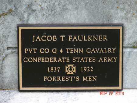 FAULKNER (VETERAN CSA), JACOB T. (PLAQUE CLOSE-UP) - Simpson County, Kentucky | JACOB T. (PLAQUE CLOSE-UP) FAULKNER (VETERAN CSA) - Kentucky Gravestone Photos